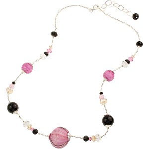 "Black and Pink Finestra 18"" Necklace w/Extender"