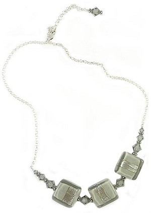 Grey and Silver Incalmo Necklace - 16 to 18 Inches