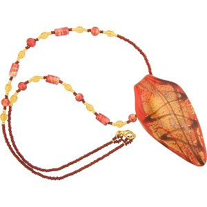 Beaded Atena Pendant Necklace Red and Chocolate with 24kt Gold Foil, 22 Inches