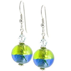 Bicolor Round Earrings - Green/Blue