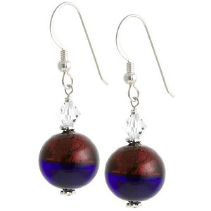 Bicolor Round Earrings - Red/Cobalt Blue
