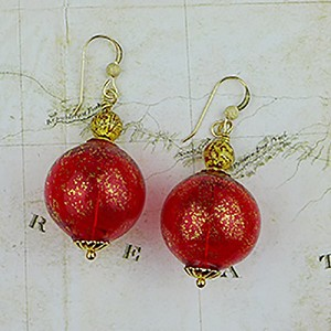 Red Murano Glass Blown Bead Earrings