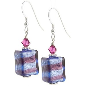 Spiraled Cube Earrings - Blue and Amethyst over Silver