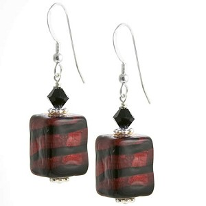 Spiraled Cube Earrings - Red and Black over Gold