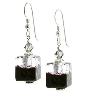 Bicolor Cube Earrings - Black and Silver over Gold