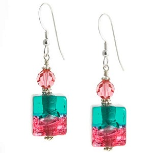 Bicolor Cube Earrings - Rubino and Laguna over Silver
