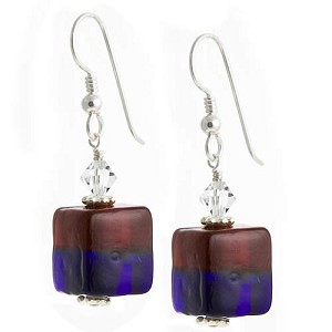 Bicolor Cube Earrings - Red and Blue over Silver