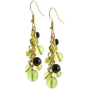 Grappolo Earrings - Green/Black/Gold