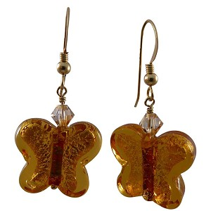 Topaz Butterfly Earrings with Gold Fill EarWires and Swarovski Crystals