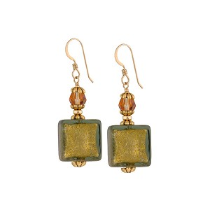 Fall Gold Foil Earrings, Gray Venetian Glass Earrings