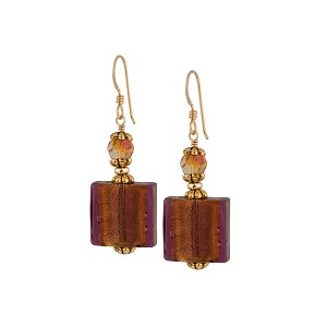 Fall Gold Foil Earrings, Amethyst Venetian Glass Earrings