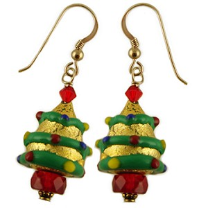 Gold Decorated Tree Earrings