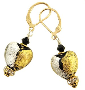 Abstract Black Silver/Gold Earrings