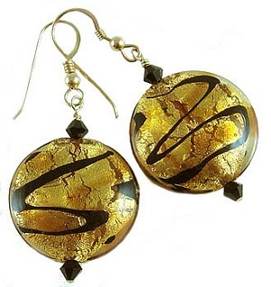 Topaz Discs Venetian Bead Earrings