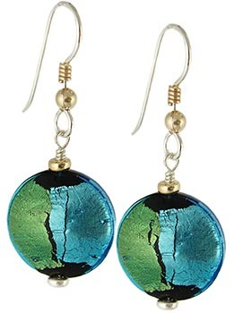 Pezzi Earrings - Aqua Over Silver and Gold