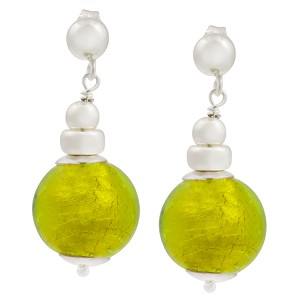 Silver Dangle Earrings with Peridot Green 24kt Gold Foil Murano Glass Bead
