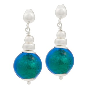 Silver Dangle Earrings with Aqua 24kt Gold Foil Murano Glass Bead