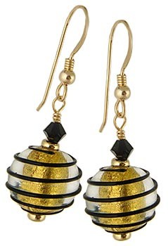 Spirale Earrings - Black over Gold