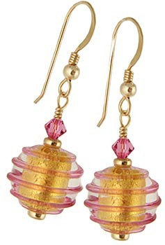 Spirale Earrings - Pink over Gold