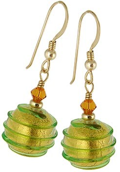 Spirale Earrings - Green over Gold