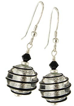 Spirale Earrings - Black over Silver
