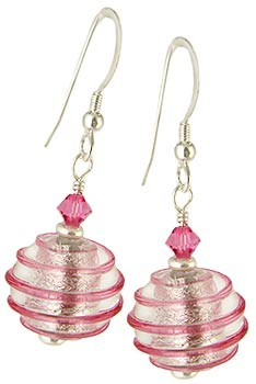 Spirale Earrings - Pink over Silver Murano Lampwork Beads