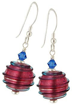 Spirale Earrings - Blue over Pink and Silver