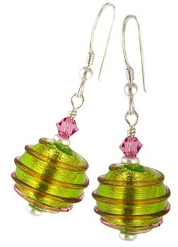 Spirale Earrings - Pink over Green and Silver
