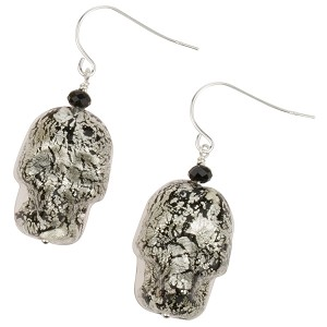 Skull Earrings, Murano Glass Ca'd'oro Black with White Gold Foil and Swarovski Briolette