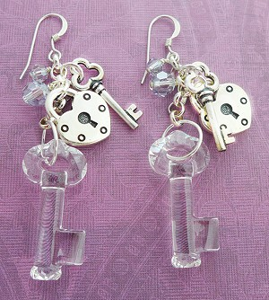 Swarovski Glass Key and Antiqued Silver Lock and Key Earrings