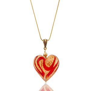 Red Swirls Gold Foil Murano Glass Heart Pendant, Large