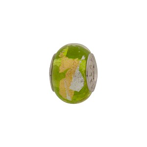 PERLAVITA Bimbi Rondell, 2.5mm Sterling Insert, Vicenza Green Murano Glass