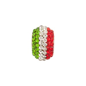 Italian Flag Colors Crystals Large Hole Bling