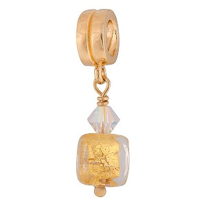 PerlaVita Cube Charm, Clear over Gold