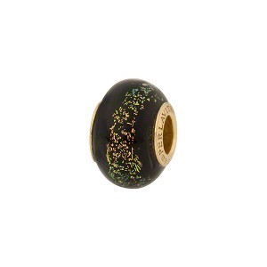 PerlaVita Shimmers Murano Glass Rondel Black Salmon Dichroic 5mm Hole Vermeil