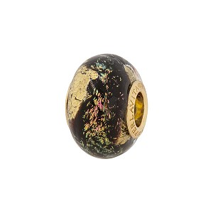 PerlaVita Shimmers Murano Glass Rondel Black Gold Dichroic 5mm Hole Vermeil