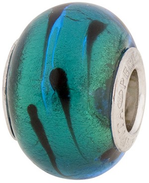 PerlaVita LaCrima Murano Glass Rondel, Aqua & Gold, 5mm Hole, Sterling