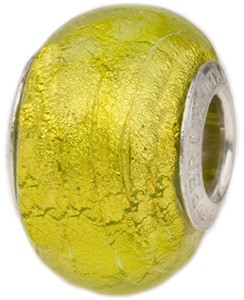 PerlaVita Gold Foil Murano Glass Rondel, Herb Green, 5mm Hole, Sterling Inserts