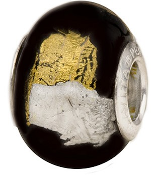 Black Vicenza Gold Foil Rondel Sterling Insert