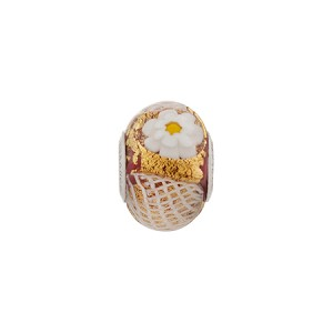 PerlaVita Zanmil Murano Glass Rondel, Opaque Red & Gold, 5mm Hole, Sterling