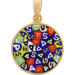 Yellow, Green Letters Millefiori Pendant 18mm