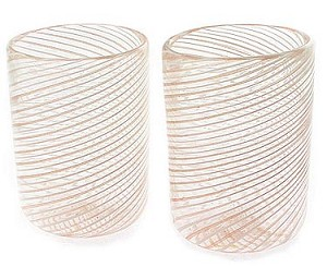 Spiral Aventurina and White Cordial, Set of 2