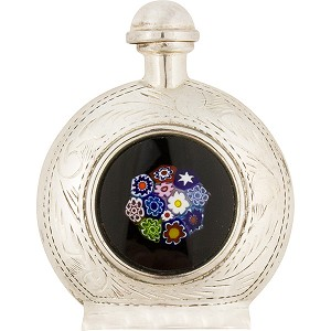 Sterling Silver Bottle with Millefiori Inlay and Filigree
