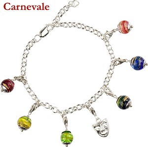 Sterling Silver Charm Bracelet, Carnival Colors and Mask, Trigger Clasps