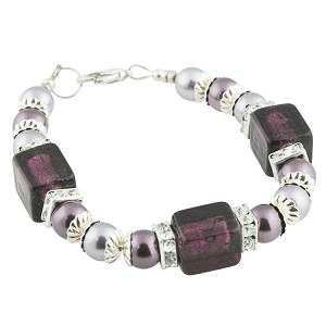 Purple Velvet Cube Bracelet with Swarovski Pearls