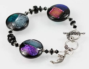 Black Iridescent Discs Murano Glass Bracelet