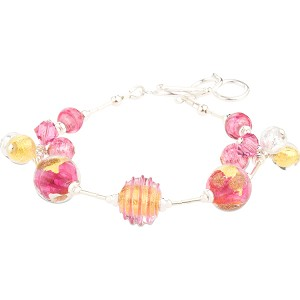Pink Luna Melody Murano Glass Beads Bracelet, CellaBella