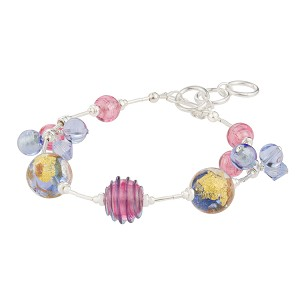 Pink and Blue Luna Melody Murano Glass Beads Bracelet, CellaBella