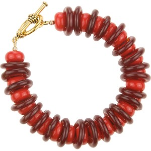 Red and Dark Red Rondel and Rings Venetian Glass Bracelet  7 1/2 Inches