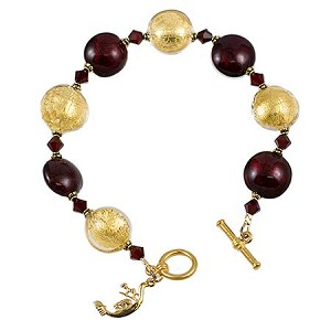 Schissa Murano Glass Bracelet - Red and Gold